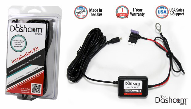 Dashcam installation kit 12v fuse tap to 5v USB plug with packaging composite image